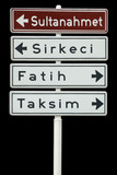 Touristic districts of Istanbul, Turkey, isolated street board poster
