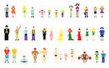 vector illustration of pixel people for web poster