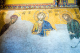 Byzantine mosaics in the interior of Hagia Sophia,Istanbul, Turk poster
