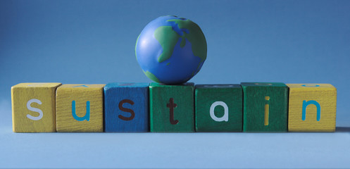 the word 'sustain' with a simple globe on top
