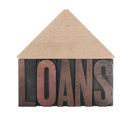 the word 'loans' with a roof shape above