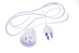 Electrical plugs and cable over white background poster
