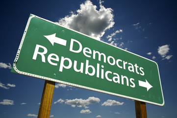 Democrats, Republicans - Road Sign
