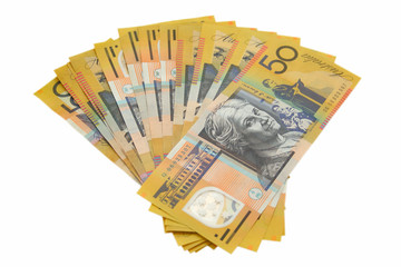 Australian money on white background