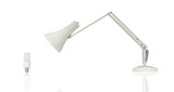Desk lamp looking at energy efficiency light bulb - conceptual poster