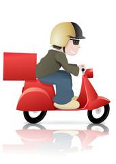 Livreur sur son scooter rouge