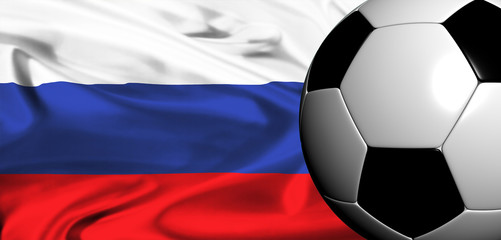 euro 2008 - national flag of russia with soccer ball