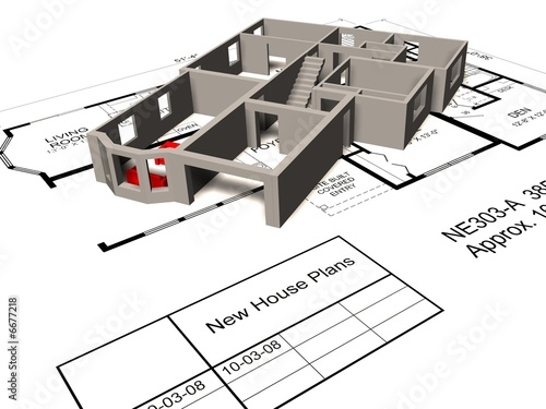 3D Model of a new house plan by jaddingt, Royalty free stock photos