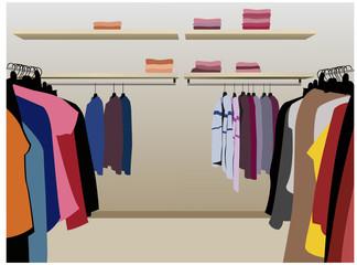 clothes in shop vector