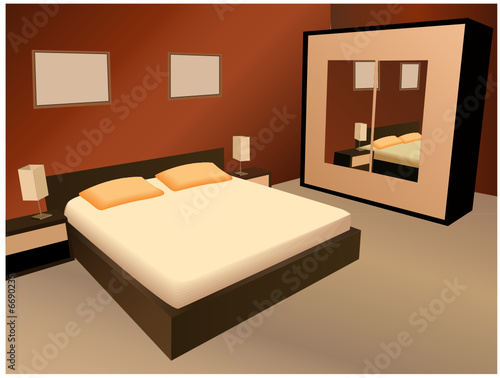 brown bedroom vector