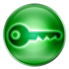Key icon button green, isolated on white background.