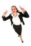 Businesswoman making peace sign poster