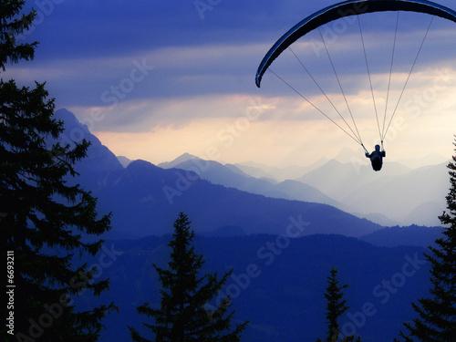 Aluminium Luchtsport gleitschirmflieger vor alpenpanoroama