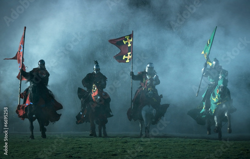 mediaeval knights on horseback - 6695258