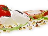 gourmet terrine mit ziegenkäse, pinienkerne,rucola und tomate poster