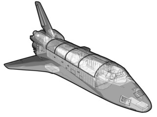 A technical illustration of a space shuttle.