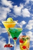 Summer of alcoholic recreational drink on background with sky poster