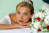 Sexy bride with tiara at wedding