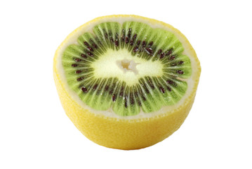 Genetic engineering - lemon with kiwi inside