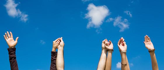Holding Hands & Sky Banner