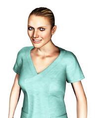 3d female nurse in green scrubs smiling