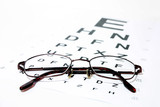 Glasses on eye Snellen Eye Chart
