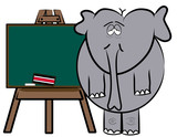drained elephant teacher standing at easel chalkboard  poster