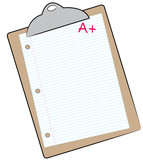 clipboard with lined paper marked with A+