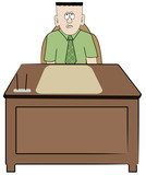 frustrated overworked business man sitting at his desk poster