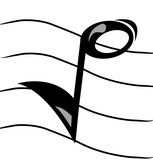 musical note on staff  poster