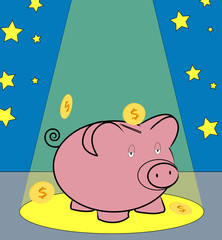 piggy bank with coins falling around in spotlight