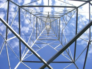 Giant aerial electric cable wires tower