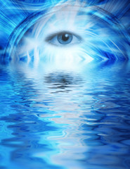 Human eye on blue abstract background reflected in rendered wate