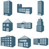 Architecture Symbol Set in Monochrome Blue poster