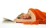 Girl fallen asleep with a book poster