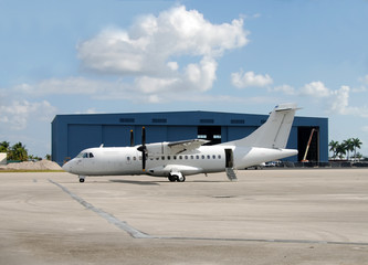 Turboprop airplane in white color
