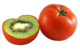Genetic engineering - tomato with kiwi inside poster