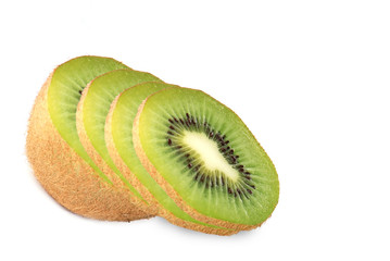 Sliced kiwi on white background