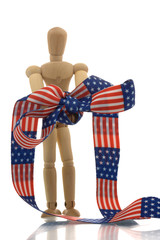 Manikin hands tied with us banner tape