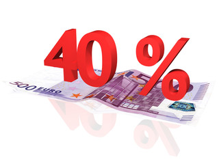 3d rendered 40 % percentage on euro banknote