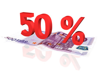 3d rendered 50 % percentage on euro banknote