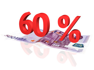 3d rendered 60 % percentage on euro banknote