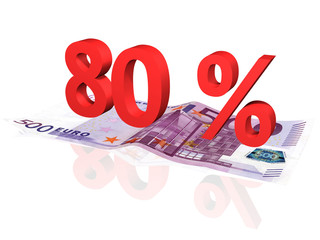 3d rendered 80 % percentage on euro banknote