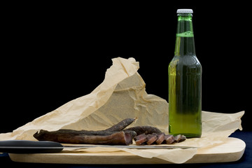 Biltong and beer (South African salted dry cured meat)