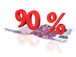 3d rendered 90 % percentage on euro banknote
