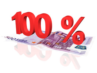 3d rendered 100 % percentage on euro banknote