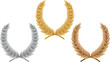 Three laurel wreath. Vector illustration