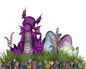 Easter Surprise - baby dragon hatched from an Easter Egg