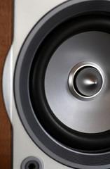 close-up of wooden hi-fi loudspeaker