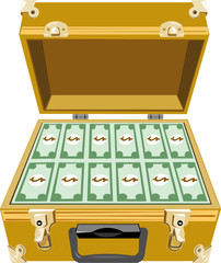 Gold briefcase with money